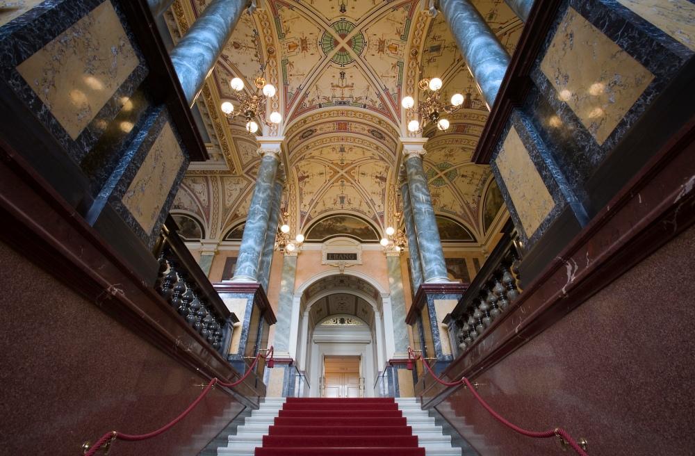 Main entrance hall  Semper Opera House Sächsische Staatsoper Dresden, Germany