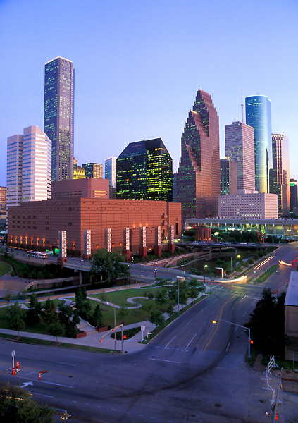Wortham Center and Downtown Houston Skyline During Daytime