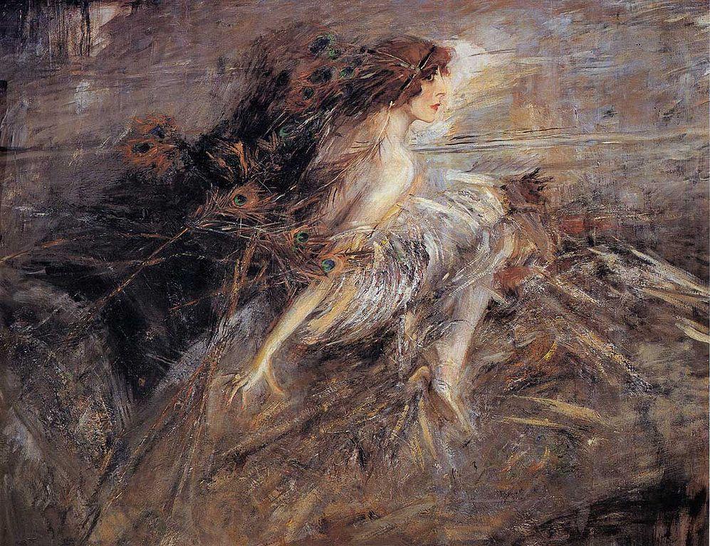 La Marchesa Luisa Casati con penne di pavone – Opera di Luigi Boldini